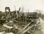 Wreckage of a building destroyed by flood