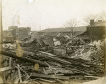 Wood structure demolished by flooding