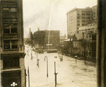 Scene of Fourth Street in downtown Dayton as flood waters receded