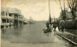 Relief boat landing  during flood