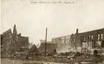 Fire ravaged buildings on Third and St. Clair Streets