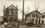 Flood damaged houses and drowned horses