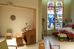 Chapel, Pelletier Hall, View of Left Side and Stained Glass by Glenn Plungis