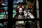 Stained Glass Window: Detail, Christ and Lamb by Glenn Plungis