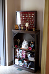 Display Case and Bookcase with Religious Medals, Reliquaries, Missals, Other Religious Objects by Glenn Plungis