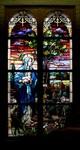 Good Shepherdess Window: Full View in Dark Chapel by Glenn Plungis
