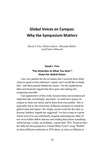Global Voices on Campus: Why the Symposium Matters