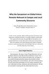 Why the Symposium on Global Voices Remains Relevant in Campus and Local Community Discourse