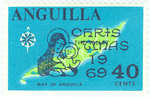 Map of Anguilla – Christmas 1969 and Mother and Child Overprinted