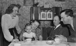 Gilberte Voisin with husband, Amedee Pierret, their first baby, and Mr. and Mrs. Hector Voisin in 1952