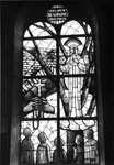 Stained glass window representing the apparitions of Our Lady of Beauraing with the five seers, 1964