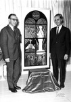 Albert Voisin with Maurice Grenier (donor of the window) standing beside the original tableau, 1964