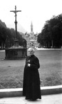 Father Joseph Aneuse in Lourdes, after eye operation, 1958