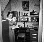 Miss Doris M. Poisson in the first office of the Pro Maria Committee