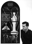 Artist with Painting of Our Lady of Beauraing, circa 1960 by Richard Belley