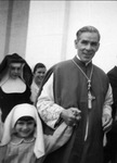 Fulton Sheen and Child at Fatima, circa 1958
