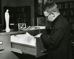 Fr. William Cole in the Marian Library, circa 1964