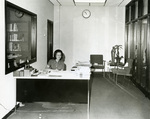 Barbara Gibbons in the Marian Library, circa 1970