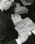 Bro. Maloy in the Marian Library, circa 1965