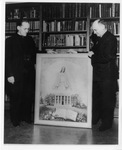 Fr. Monheim and Bro. Louie Saletal with Painting, circa 1950