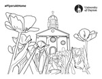Coloring Page: Immaculate Conception Chapel with Flowers in Foreground