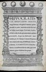 Hippocrates: 'Octoginta volumina' ('The Hippocratic Corpus')