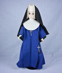 Doll wearing habit worn by Sisters, Servants of the Immaculate Heart of Mary