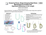 Designing Planar, Shape-Changing Rigid Body Mechanisms for Profiles with Significant Differences in Arc Length