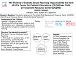 The Themes of Catholic Social Teaching Integrated into the Work of UD's Center for Catholic Education's (CCE) Urban Child Development Resource Center (UCDRC)
