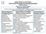 Upper Grade Level Literacy: Instructional Strategies for Struggling Readers