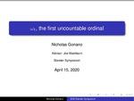 ω1, the First Uncountable Ordinal