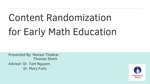 Content Randomization for Early Math Education