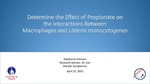 Determine the Effect of Propionate on the Interactions Between Macrophages and Listeria monocytogenes