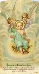 Baby Jesus and angels holy card