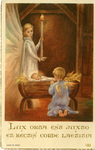 Baby Jesus and angels Christmas holy card