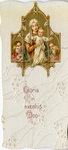 Mary, Jesus, and angels triptych holy card