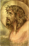 Jesus wearing crown of thorns holy card
