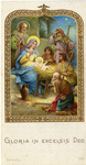 Shepherds at the nativity holy card