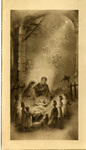 Nativity scene with Holy Family, shepherds and angels holy card