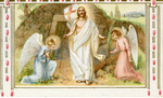 Resurrected Jesus and angels holy card