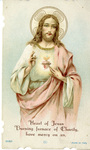 Heart of Jesus profession holy card