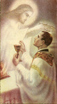 Jesus and priest first mass holy card