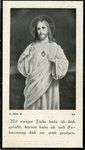Jesus and Sacred Heart memorial holy card