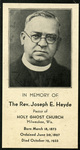 Father Joseph Heyde memorial holy card