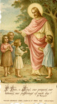 Jesus and children holy card