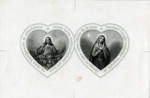 Portraits of Jesus and Mary holy card