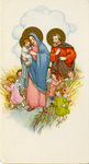 Holy Family with angels holy card