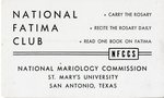 National Fatima Club membership card