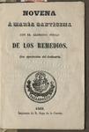 Novena a Maria Santisima con el glorioso titulo de los Remedios.