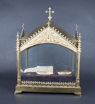 Reliquary casket containing a piece of cloth soaked in the blood of Saint Philip Neri, and relics of Saint Julia of Corsica, the Holy Innocents, Saint Anthony of Padua, and an unidentified saint